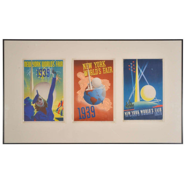 1939 Art Deco Machine Age Original New York World's Fair Posters Triptych For Sale - Image 9 of 9