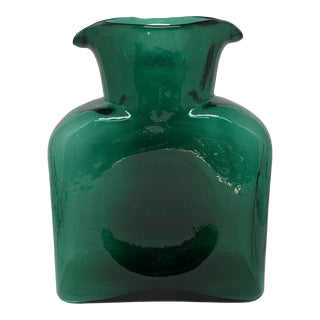 Vintage Blown Glass Emerald Double Spout Pitcher by Blenko For Sale