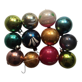 German Glass Christmas Ornaments - Set of 12