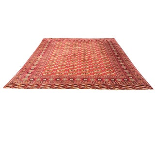 Antique Tribal Turkoman Bokhara Hand Knotted Wool Area Rug - 9′5″ × 12′8″ For Sale