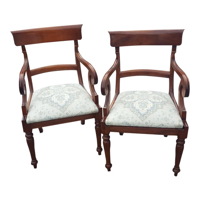 Traditional Wood Arm Chairs - A Pair - Image 1 of 7