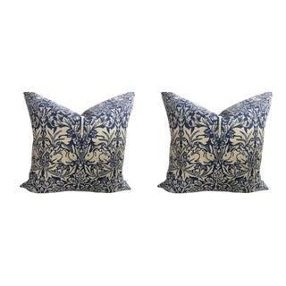 "William Morris ""Brer Rabbit"" in Indigo & Off-White Pillows - a Pair For Sale"
