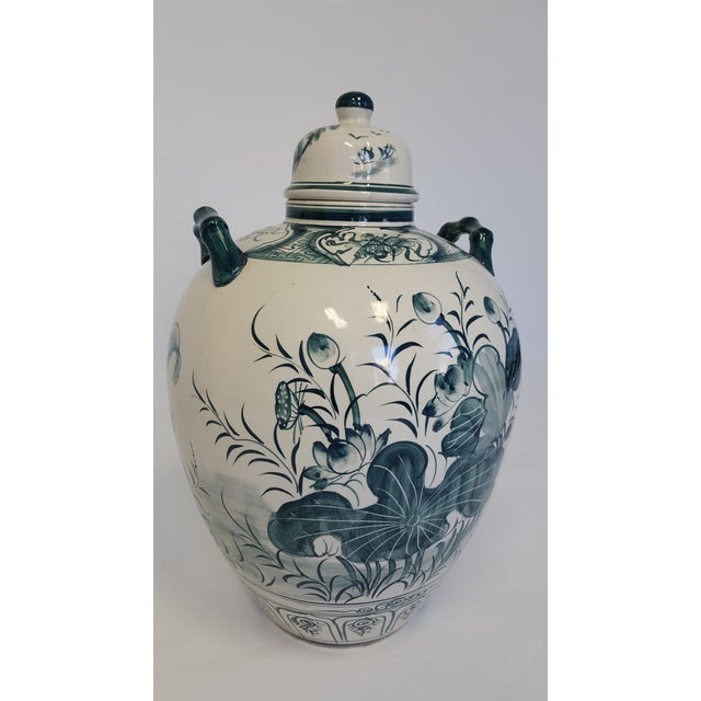 Large Hand Painted Porcelain Urn For Sale - Image 4 of 6