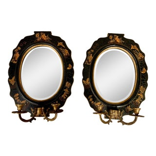 Pair of Mirrored Chinoiserie Sconces For Sale