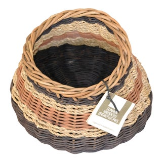 1980s Boho Chic Handcrafted Woven Reed & Seagrass Nancy Basket by Paulette Lenney For Sale