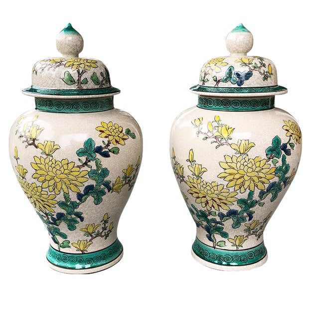 Emerald Green and Yellow Floral Ceramic Ginger Jars or Urns With Lids 20th Century - a Pair For Sale