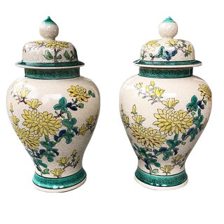 Famille Verte 20th Century Chinese Ginger Jars - a Pair For Sale