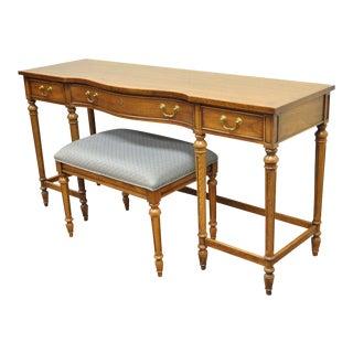 Vintage Thomasville French Style Banded Walnut Vanity Ladies Desk & Bench