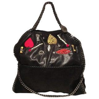 Stella McCartney Falabella Embroidered Black Faux Leather Shoulder Bag For Sale