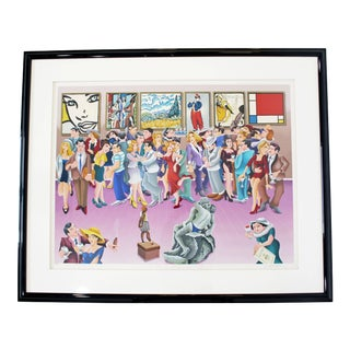 Contemporary Framed Lithograph Signed Yuvhal Mahler Party Art Exhibit 1980s 63/250 For Sale