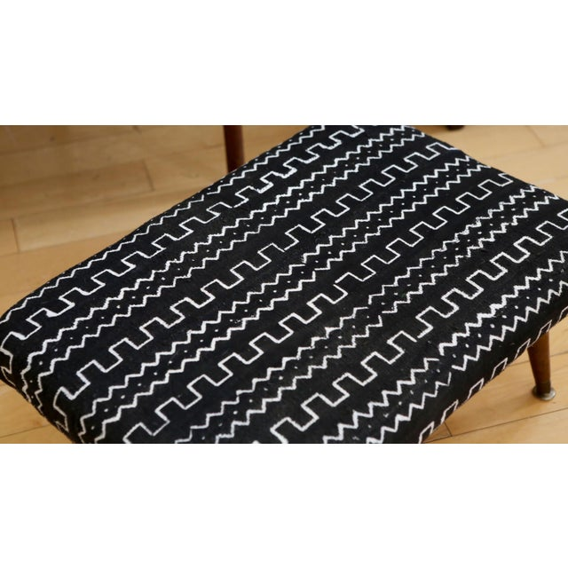 Mid-Century Modern Authentic African Mud Cloth From Mali Footstool - Image 4 of 7