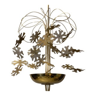 Perforated Brass Snowflake Chandelier in the Style of Paavo Tynell For Sale