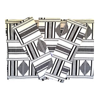 African White Black Print Fabric Placemats - Set of 8 For Sale
