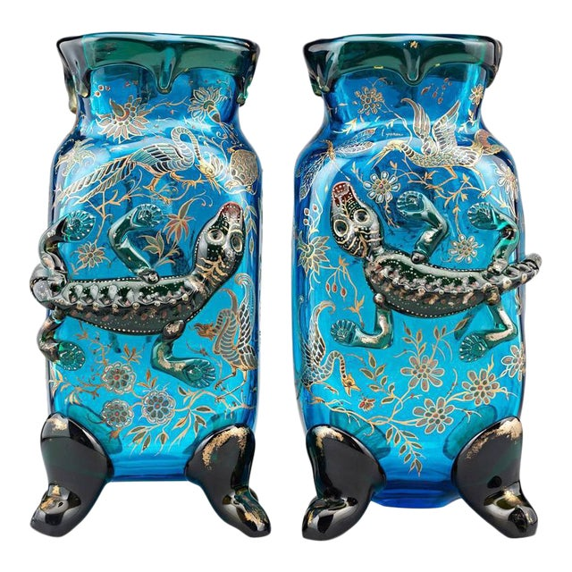 Salamander Art Glass Vases by Auguste Jean For Sale