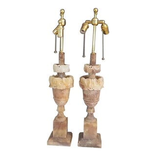 Vintage Marble Stone Lamps - a Pair For Sale