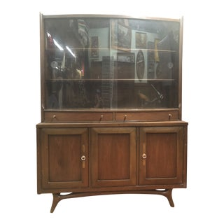1960s Mid Century Modern Dark Walnut China Cabinet With Curved Glass Doors For Sale