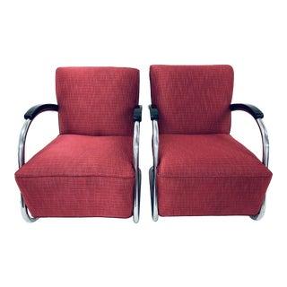 1940s Vintage Anton Lorenz Style Art Deco Chrome Club Arm Chairs- a Pair For Sale