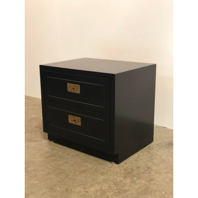 Gold 2 Drawer Henredon Black Lacquered Campaign Chest For Sale - Image 8 of 12