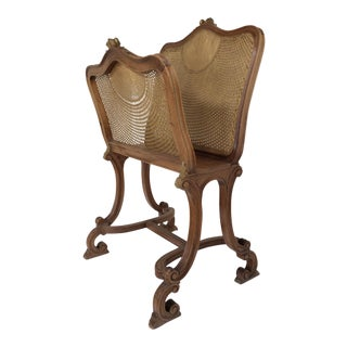 Caned & Carved Wood Magazine Stand