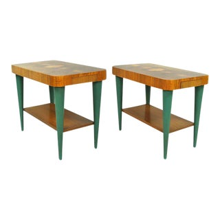 Pair of Art Deco Moderne Burl Top Tables by Gilbert Rohde