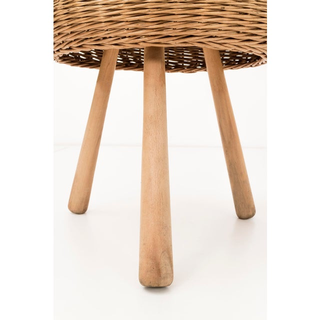 1950s Tony Paul Rattan Stool For Sale - Image 5 of 6