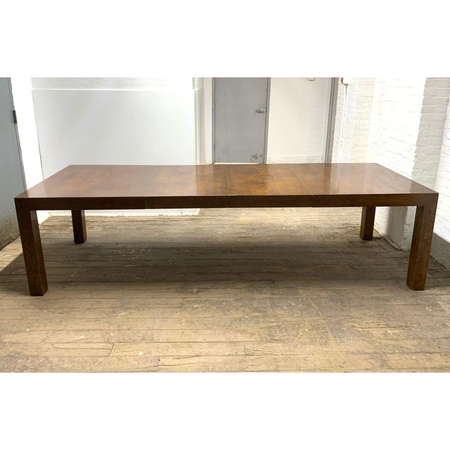 """Milo Baughman burl wood parson / dining table with two extension leaves. Measures (with leaves): 110""""W x 39"""" D x 29"""" H...."""