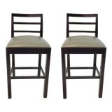 Image of Hickory Chair Gray Leather Dara Counter Stools Pair For Sale
