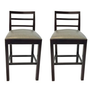 Hickory Chair Gray Leather Dara Counter Stools Pair For Sale