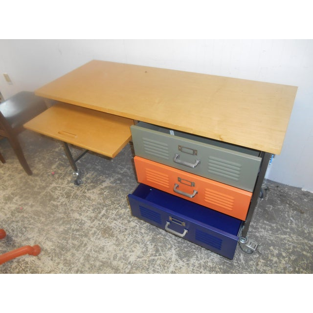 Mid-Century Industrial Writing Desk & Chair - A Pair For Sale - Image 5 of 6