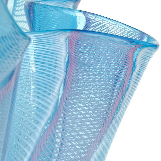 Vetreria Fratelli Toso Fratelli Toso Murano Blue Pink White Ribbons Italian Art Glass Fazzoletto Sculptural Vase For Sale - Image 4 of 5