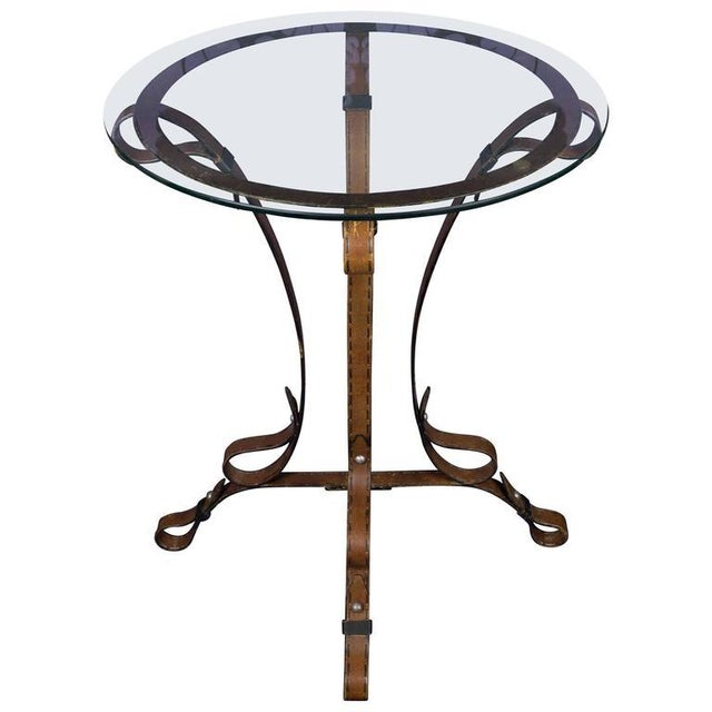 """Unique French """"Leather"""" Wrought Iron Table With Glass Top - Image 11 of 11"""