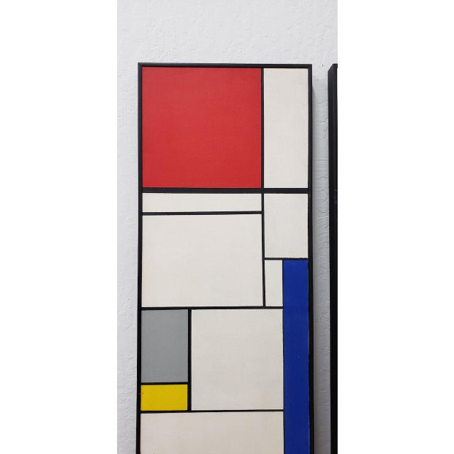 Pair of Mid-Century Geometric Abstract Paintings c.1950s Fantastic pair of vintage oil paintings on canvas done. The back...