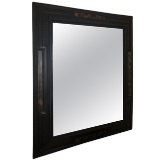 Napoleon III Dutch Style Italian Ebonized and Faux Tortoise Framed Mirror For Sale