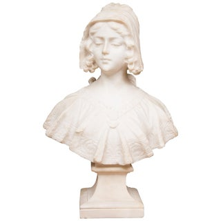 19th Century French Hand Carved Carrara Marble Bust of a Young Lady For Sale