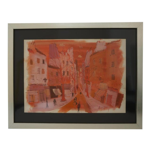"""Mid-Century Modern Levier """"Street Scene"""" Gouache and Watercolor Painting Signed in the Painting For Sale"""