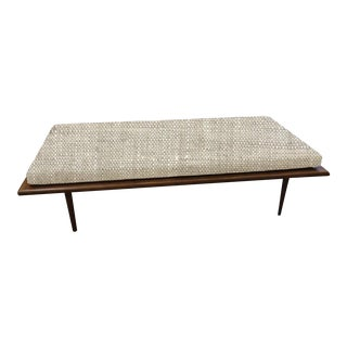Long Bench With a Loose Natural Linen Seat Cushion For Sale