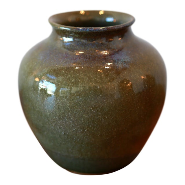 Handmade Green Glaze Studio Pottery Ceramic Vessel For Sale