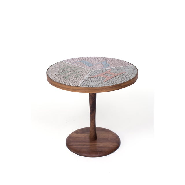 1960s Walnut and Mosaic Side Table For Sale - Image 5 of 5