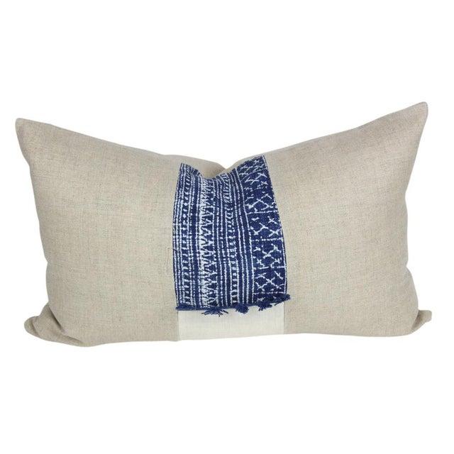 Indigo Batik Linen Pillows - A Pair - Image 4 of 5