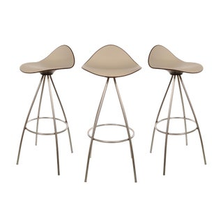 Modern Onda for Stua Steel & Off White Leather Barstools- Set of 3 For Sale