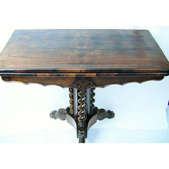 Beautiful example of a an Early Victorian/Transitional mahogany 19th Century Fold-over card table. Made of...