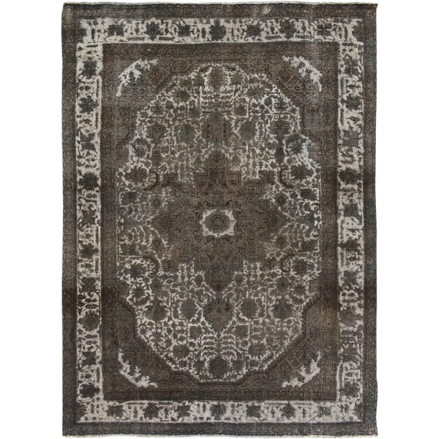 """Vintage Distressed Color Reform Silas Gray/Gray Wool Rug - 7'8"""" X 11'0"""" For Sale"""