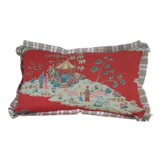 Vintage Chinoiserie Print Pillow For Sale