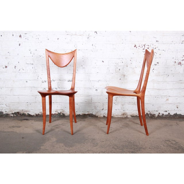 A rare and exceptional pair of studio craftsman sculpted chairs by world-famous Slovenian industrial designer and artist...