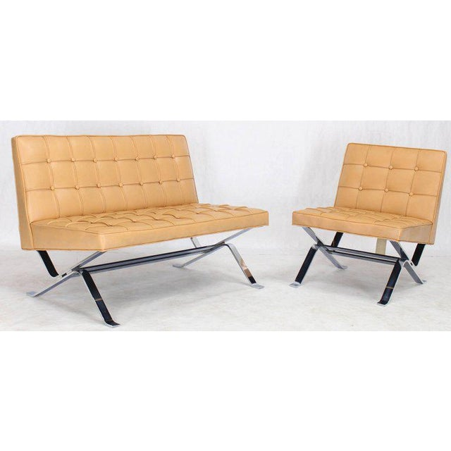 Mid-Century Modern Tufted Upholstery Chrome Base Settee Loveseat and Chair Set - 2 Pieces For Sale - Image 10 of 11