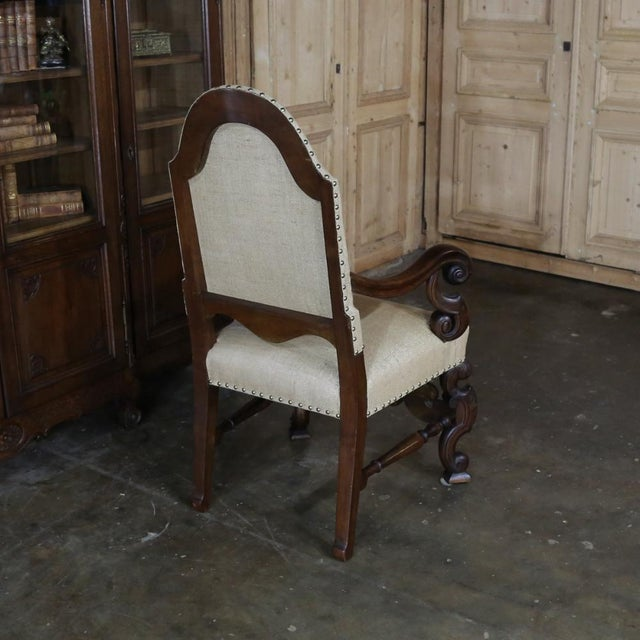 19th Century French Walnut Louis XIV Armchair For Sale In Dallas - Image 6 of 13