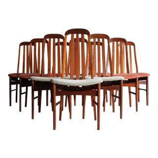 Sculptural Danish Modern Dining Chairs, Set of 10