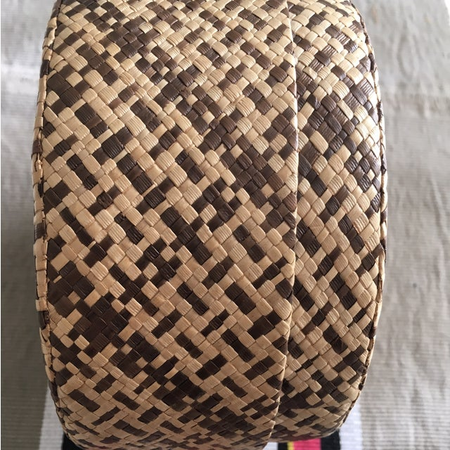 Vintage Woven African Round Box With Lid - Image 5 of 8