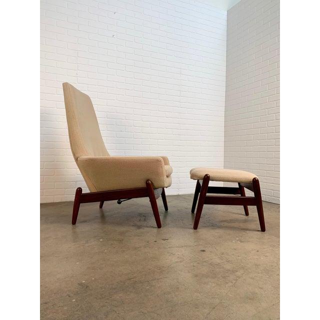 Ib Kofod-Larsen i.b. Kofod-Larsen High Back Lounge Chair Model Pd30 With Ottoman, Circa 1960 For Sale - Image 4 of 13