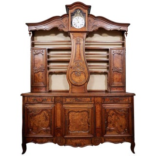 19th Century French Walnut China Cabinet With Clock For Sale